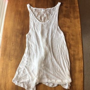 Intimately Free people white tank top back lace
